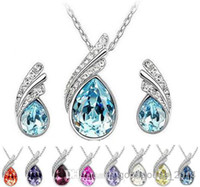 Wholesale Sterling Silver Sets Quality Gift - High quality austrian crystal jewelry 925 sterling silver jewelry set with diamonds necklace and a pair of earrings Swarovski Crystal