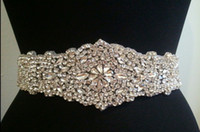 Wholesale Wide Rhinestone Belts - New Latest Vintage Wedding Bridal Party Dress Silver Floral Crystal Rhinestone White Ribbon Stain Sash Sashes Belt Jewelry Accessories Favor