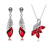 Wholesale Elements Austrian Crystal - Austrian crystal diamond jewelry set 925 sterling silver jewelry necklace and a pair of earrings Swarovski Crystal Elements