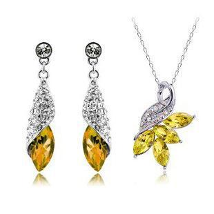 Austrian crystal diamond jewelry set 925 sterling silver jewelry necklace and a pair of earrings Swarovski Crystal Elements