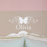 Wholesale Personalized Butterfly Stickers - Creative Personalized Custom Name Butterfly Wall Stickers Art Decals Home Decor