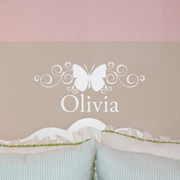 Wholesale Custom Design Homes - Creative Personalized Custom Name Butterfly Wall Stickers Art Decals Home Decor