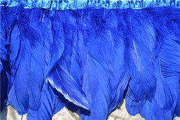 Wholesale Blue Feather Trim NZ - Free shipping ROYAL BLUE goose feather fringe of 10 yards trim for craft wedding sewing dress custom supply