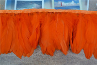 laranja penas ganso venda por atacado-Frete grátis 10 metros orange goose feather aparando franja penas de ganso guarnição franja 15-20 cm de largura para trajes de costura decoração