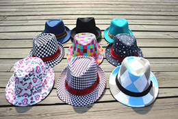 Korean Children s Jazz Hat Baby boy Bucket Hats Girls Plaid Trilby Fedora  Caps Autumn Sunbonnet Dancing hat 10pcs lot Free Shipping SZ0403 a3551f72e684