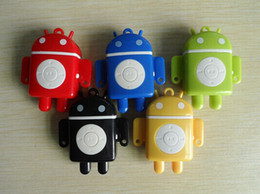 Wholesale Mp3 Player Android Robot - Mini MP3 Player - Portable Android Robot MP3 Music Players with TF (Micro SD) Card Slot   Earphone   Retail Box