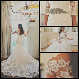 Wholesale Sweetheart Sheer Beaded Lace Mermaid - Sheer Long Sleeves Lace Belero 2015 Sexy Sweetheart Mermaid Wedding Dress Organza Applique Beaded Bridal Gowns