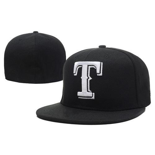 Cheap Mlb Hats: 2019 Black Rangers Caps Cheap MLB Fitted Caps Brand T