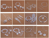 Wholesale tracking earrings for sale - Group buy with tracking number Best Most Hot sell Women s Delicate Gift Jewelry Silver Plated Mix Jewelry Set Set