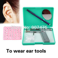 Wholesale Ear Tattoo Gun - Wholesale-Ear Tattoo Body Piercing Kit 1 Gun With 49 Pairs of Silver Studs For Piercing Supply