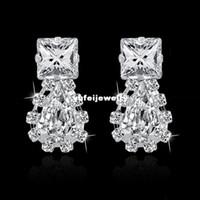 Wholesale New Arrival Earings - European Popular Women Brand Earings 2014 New Arrival Korean Trend Austrian Crystal Earrings Silver Earings SER140272