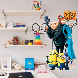 Wholesale Despicable Gru - Big promotion 2 Minions Despicable Me Gru Lucy Cartoon Removable Wall stickers Decal Kids Decor Home Mural Art