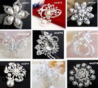 Wholesale Ornaments Artificial Crystals - 24pcs lot Beautiful Bridal Jewelry Brooch Artificial Crystal Pearl Pin Wedding Dress Bouquet Ornament wx202