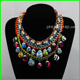 Wholesale Cotton Rope Handmade Necklaces - 000127 - 2014 New Design Fashion Jewelry Cotton Rope Twine Handmade Cotton Fabric Pompoms Necklaces & Pendants Free Shipping