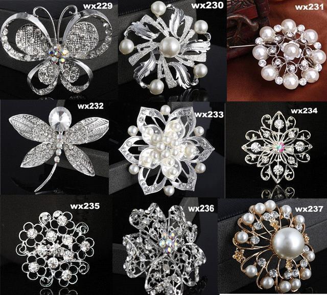 Glitter diy flower leaves design brooch with crystal pearl Wedding dress with leaf design