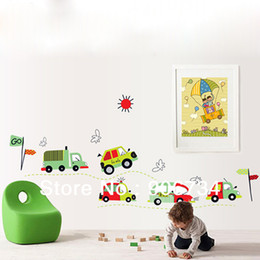 Wholesale Kids Car Wall Stickers - Wholesale-Small Car Pattern Home Accessories Decal Removable Art Vinyl Mural Decor Wall Stickers For Kids