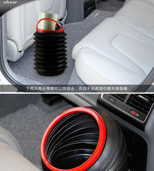 High Quality 1PC Flexible Mini Car supplies Trash can 4L Folding Storage Bucket Barrel Car Trash Container Garbage Bin 672807