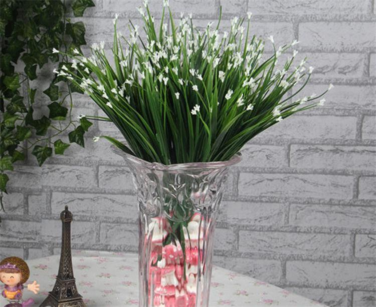 "Plastic Plant 35cm/13.78"" Length 50Pcs/lot White/Purple/Yellow/Red Artificial Spring Grass Small Flower for Wedding Flowers"