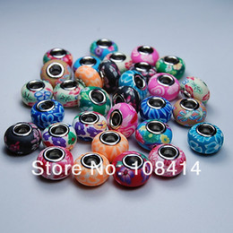 Wholesale Fimo Polymer Clay - 50PCS Lot Mixed Color DIY Soft Ceramic Fimo Polymer Clay Beads Charms fit for European Bracelet and Necklace of