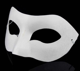 Wholesale Dancing Paper - Zorro Mask White Hand-painted masks Half Face Mask Halloween blank paper DIY Hip-Hop mask street dancing Christmas gifts free shipping