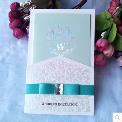 2015 Chic Elegant Invitation Cards Teal Red Personalized