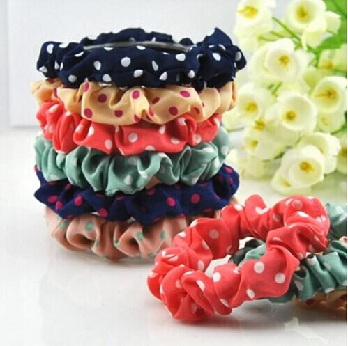 Fashion Hair Rubber Bands Cute dot Elastic Hair bands clothing Hairbands Baby Headwear Girl Hair Accessories mix color free shipping
