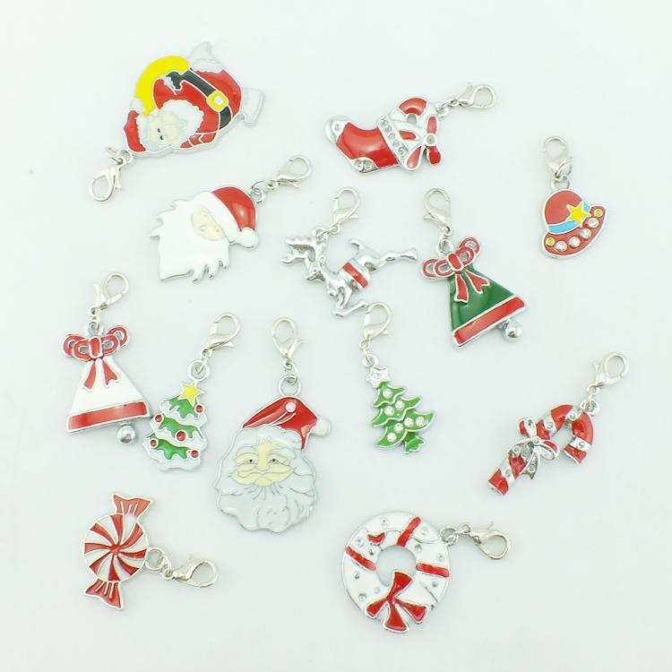 Floating Charms Christmas Fashion Silver-tone Enamel Santa Charms Pendants&Christmas Decoration SD1587