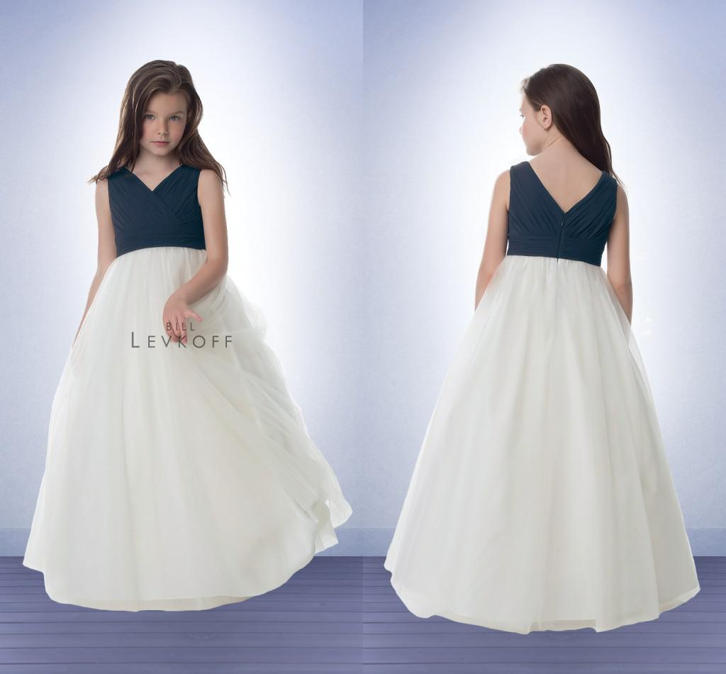 Chiffon top junior bridesmaid dresses navy blue and white tulle v see larger image ombrellifo Gallery