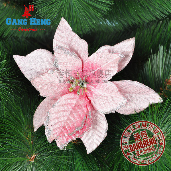 Mini mixed order $10 Pink Artificial Flowers Christmas Decoration Flowers 13cm Christmas Tree Hanging Ornaments Free shipping