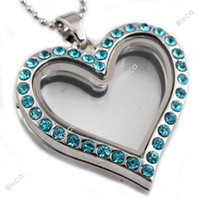 Wholesale Glass Heart Lockets - J00091 heart shape magnetic glass floating charms locket with stainless steel chain