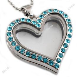 Corazon flotante corazon cadena de encantos online-Encajonamiento flotante de cristal magnético de la forma del corazón J00091 locket con la cadena del acero inoxidable