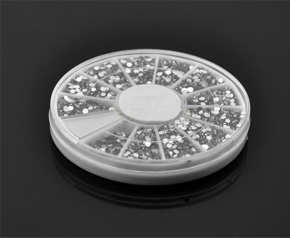 top popular Wholesale-2014 New 3600 Nail Art 1.5mm Clear Round Rhinestones Nail Glitter Tip Gems Wheel Nail Art Decoration Drop Shipping b014 10904 2019