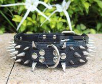 Wholesale Cheap Spike Collars - Wholesale-Colorful Cheap 100% Guarantee Spiked Studded Black PU Leather Dog Collars PitBull Mastiff P50-B