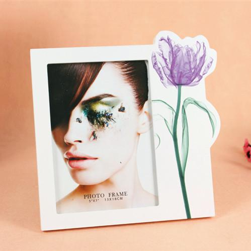 Creative Art Flower Painting Picture Frame White 5x7 Wooden Photo