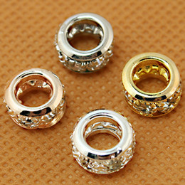 Wholesale European Gold Spacer - 100pcs lot Crystal Rhinestone European Spacer Beads 5x10mm Roundell Gold&Rose Gold&Silver&Imitation Rhodium Plated big Hole Beads