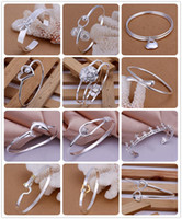 Wholesale Wholesale Sterling Christmas Charms - Mixed Order 20pcs lot 8inch 925 Sterling Silver Multi Styles Fashion Charms Bangle Bracelet best Christmas gfit