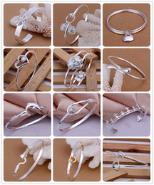 Wholesale Order Sterling Silver - Mixed Order 20pcs lot 8inch 925 Sterling Silver Multi Styles Fashion Charms Bangle Bracelet best Christmas gfit