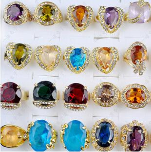Precioso Anillos de Boda Gran Crystal Zircon Gema Chapado En Oro Anillo de La Novia mezclar Estilo Multi Diseño Personalizado Joyería de Las Mujeres 30 unids / lote
