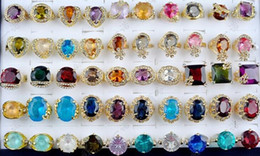 Wholesale Gorgeous Wedding Jewelry - Gorgeous Wedding Rings Big Crystal Zircon Gem Gold Plated Bride Ring mix Style Multi Design Personalized Women Jewelry 30pcs lot