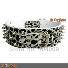 Wholesale Dog Harness For German Shepherd - Wholesale-2inch Wide Metal Studded WHITE Leopard Leather Collars for Pit Bull Dog Boxer German Shepherd S M L XL available