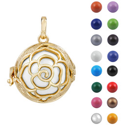 Wholesale Belly Ball Necklace - Harmony ball Mexican ball harmony bola ball 20mm Silver Rose Cage Chime Ball Harmony Bola Pendant Pregnant Belly Bola Necklace