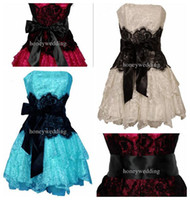 Wholesale Short Black Crinoline - 2015 Hot Sale! Strapless Bustier Contrast Lace and Crinoline Ruffle Prom Mini Dress Junior Plus Size
