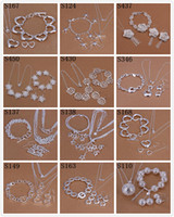 Wholesale Order Fashion Earrings China - New Design Mixed Order Multi Mutiple Styles 925 Sterling Silver Fashion Earrings+Bracelet+Necklace Jewelry Set