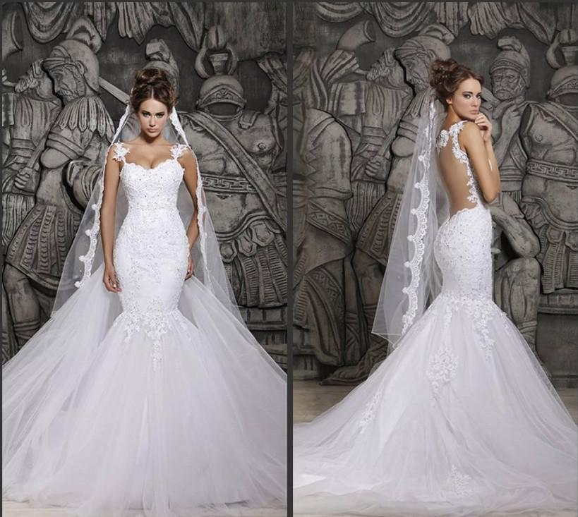 Cheap Berta Sexy Sheer Back Mermaid Wedding Dresses Spaghetti Straps Lace Appliqued Bridal Gown Saudi Arabia Vestidos BM0880