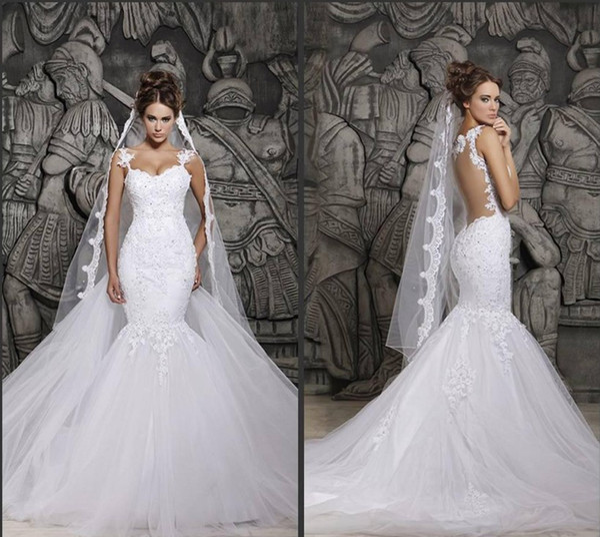 top popular Cheap Berta Sexy Sheer Back Mermaid Wedding Dresses Spaghetti Straps Lace Appliqued Bridal Gown Saudi Arabia Vestidos BM0880 2019