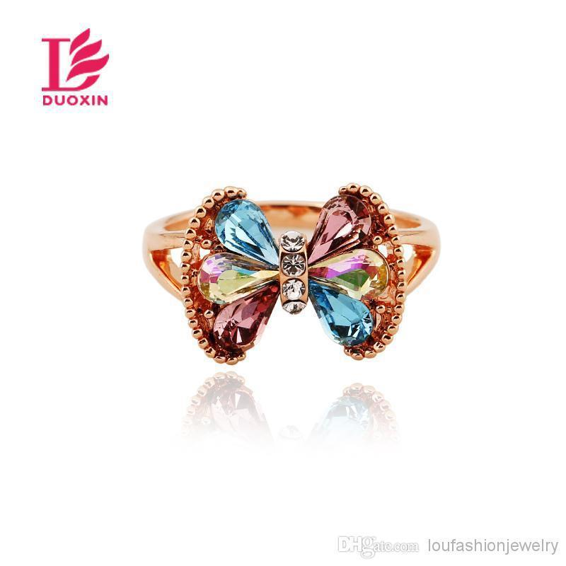 Fashion New Jewelry Charming Butterfly Shape Crystal Rings Rose Gold Plated Rings Fashion Designd Crystal Rings For Women