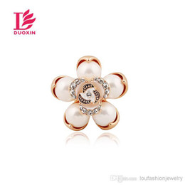 Wholesale Cheap Rose Gold Rings - Fashion Pearl Rose Flower Rings 18K Rose Gold Plated For Women Cheap Women Pearl Rings Fashion Jewelry Finger Rings For Women