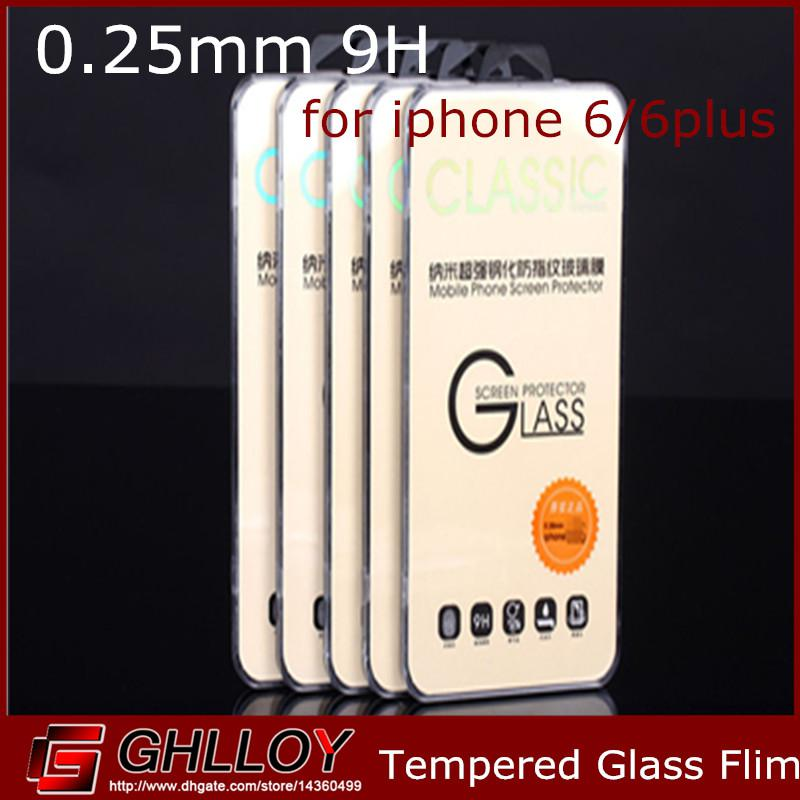 Tempered Glass Flim Premium Real Glass Flim Guard Screen Protector Arc Edge 0.25mm 9H for iphone 8 7 6 plus 50pcs up