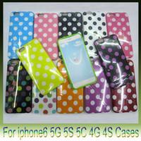 ingrosso caso per iphone5 nuovo-Case Cover Giacca Nuova puntini di Polka di gomma di silicone gel di TPU per iPhone6 più iPhone 6 4.7 5.5 pollici iphone5 5s 5C