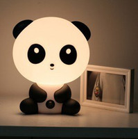 Wholesale Cartoon Panda Lamp - Wholesale-HOT SALE good quality New arrival novelty panda LED lovely night light,lamp cartoon,table lamp
